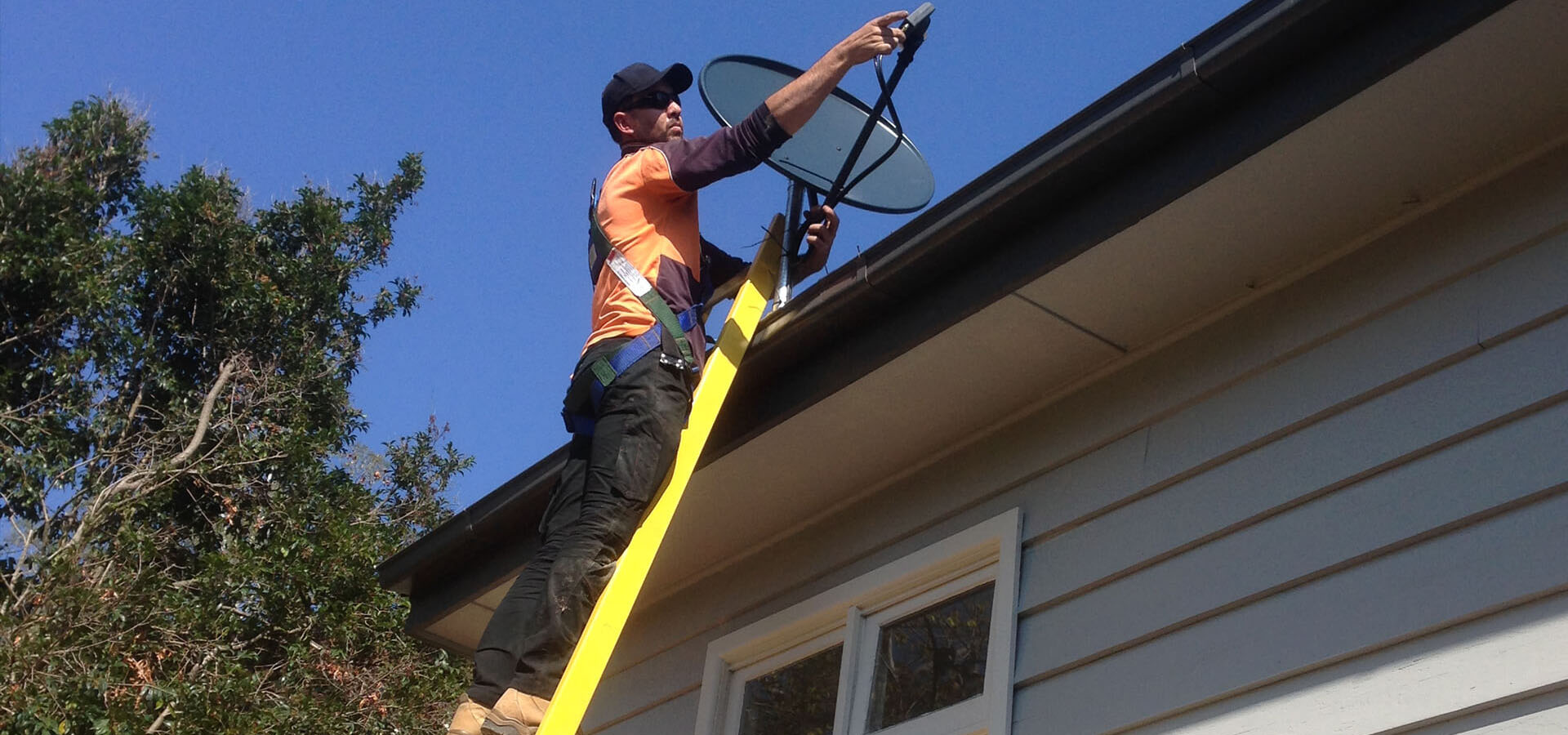 Installer using the Branach fibreglass PowerMaster Single Ladder to climb on a roof.